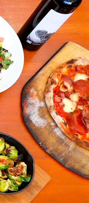 pizzas, pastas, salads, wine